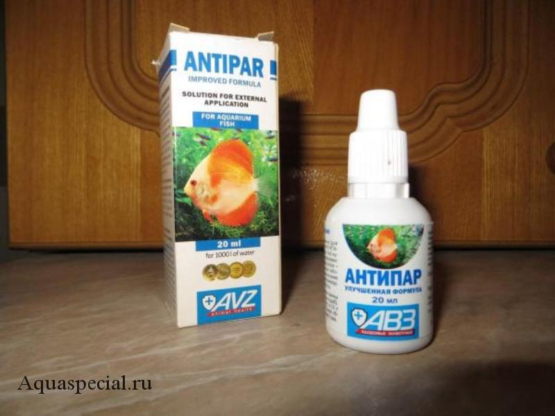 Антипар для лечения ихтиофтириоза или манки у аквариумных рыб в общем аквариуме